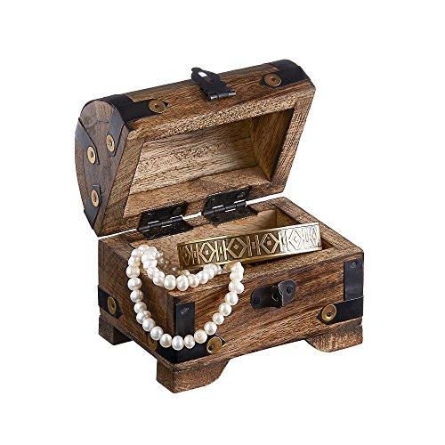 Casa Vivente Holztruhe – Bauernkasse – Schatztruhe – Schmuckkästchen – Spardose – Aufbewahrungsbox aus Holz – Klein – 10 cm x 7 cm x 8,5 cm (Dunkel – Klein) – Verpackung für Geldgeschenke - 3