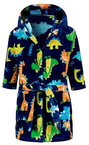 Kids Little Boys Girls Cartoon Hooded Bathrobe Toddler Robe Pajamas Sleepwear ((2-3 Years), Dark blue dinosaur)