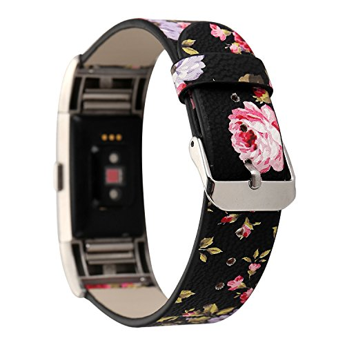 Leder Armband Fitbit Charge2, Sasairy Damen Pu Leder Armband mit Blumen Muster Uhrenarmband Lederarmband für Fitbit Charge2, Rot + Schwarz