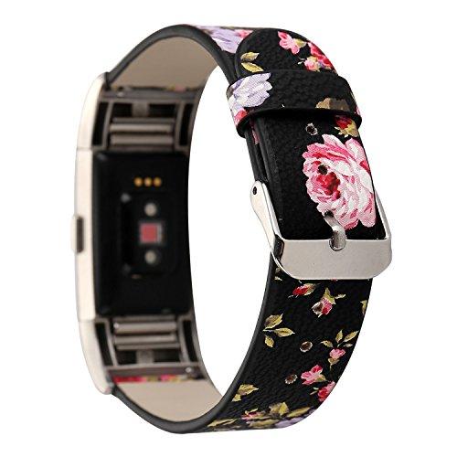 Leder Armband Fitbit Charge2, Sasairy Damen Pu Leder Armband mit Blumen Muster Uhrenarmband...