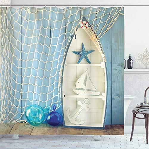 ABAKUHAUS Nautisch Duschvorhang, Marine Icons Seestern, aus Stoff inkl.12 Haken Digitaldruck Farbfest Langhaltig Bakterie Resistent, 175 x 240 cm, Blau Weiß