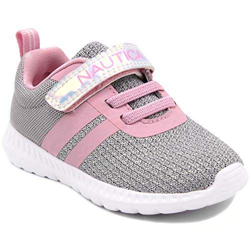 Nautica Kids Girls Fashion Sneaker Running Shoe Strap-Towhee Girls-Silver/Pink-11
