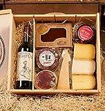 Lotes de queso - LOTE 340-9. Vino Tinto, Queso Torta Barros, Queso Cabra, Queso Parmesano, Membrillo, Mermelada Tomate, 3 Quesos de Menorca
