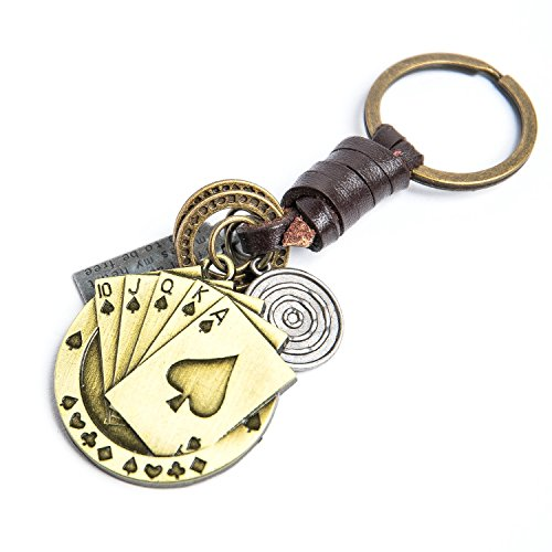 AuPra Good Luck Poker Playing Cards Leather KeyRing Gift Women & Men Best Friend Home Gold Lucky Chip KeyChain Mum & Dad Teacher Handbag Charm Key Ring Girl & Boy Car Pendant