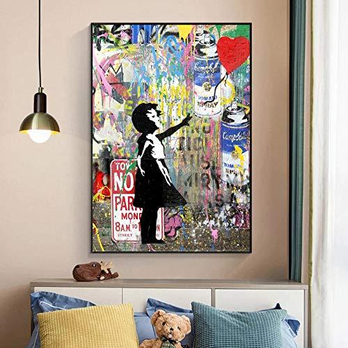 Banksy Graffiti Art Girl Holding Balloons Canvas Painting Posters e impresiones Imágenes artísticas de pared para la decoración de la sala de estar de la habitación de los niños | 60x90cm / Sin marco