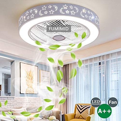 LED Deckenventilator Beleuchtung Stufenlos Dimmbar Mit Licht Kit Und Fernbedienung, 3 Speed 3 Farbe Unsichtbare Lüfterlicht Fan Beleuchtung Moderne Kronleuchter Lampe Für Wohnzimmer Schlafzimmer
