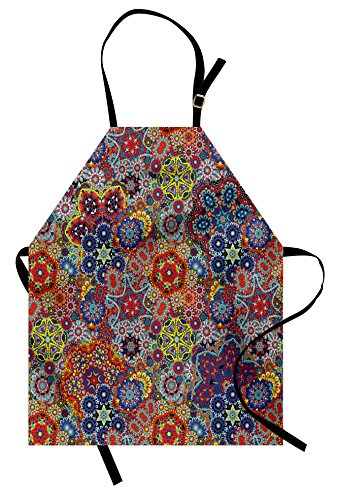 Ambesonne Batik Apron, Vintage Combined Nested Paisley Motif Oriental Feminine Cultural Eastern Batik Theme, Unisex Kitchen Bib with Adjustable Neck for Cooking Gardening, Adult Size, Red Blue