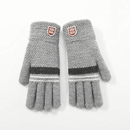 Gestrickte Handschuhe,Kinder Handschuhe Aus Gewirken Studenten Herbst Winter Einfach Warm Frostschutzmittel Plüsch Grau Handschuhe Für 6-12 Jahre