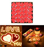 CEVVIZZ 50pcs Heart Shaped Candles, Smokeless Tealights Candle, Tea Light Candles for Birthday, Proposal, Wedding, Party, Red, Wedding Engagement, Valentines Day, Halloween (RED)