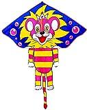 cometa infantil cometas para niños,Pink Little Lion Kite para actividades al aire libre, cometa para principiantes fácil de volar con cuerda para cometas y carrete de cometas para niños y adultos w