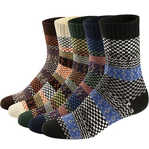 Ueither - Juego de 5 pares de calcetines altos de lana tejida con un estilo vintage, unisex, para el...