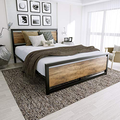 Amooly Full Size Metal Bed Frame with Wood Headboard Platform Bed Frame/Strong Slat Support/Easy Assembly/No Box Spring Required
