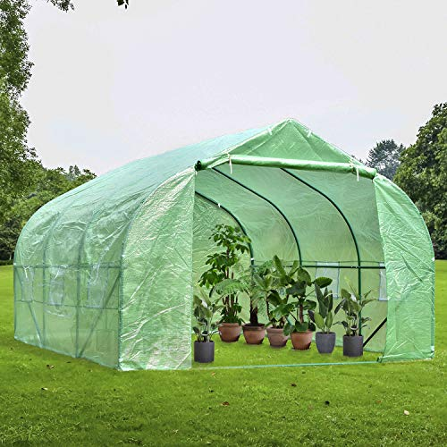 charaHOME Green House(12'x10'x7'),Heavy Duty Walk in Outdoor Gardening Greenhouse Tent Portable Large Hot House with Double Zipper, Green