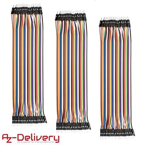 AZDelivery 3 x Jumper Wire Cavalier Câble M2M pour Arduino – 3 en 1 Multicolore Fil Wire