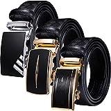 Barry.Wang - Cintura da uomo in pelle nera con 3 fibbie automatiche, cinturino regolabile, confezione regalo Oro / Nero B L