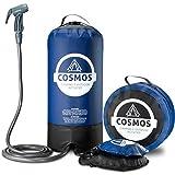 Ducha portátil de camping de Cosmos con bomba de agua de pie, bolsa de transporte, lista de comprobación de camping – Perfecto para camping, jardín, viajes, perros – 11 litros, azul