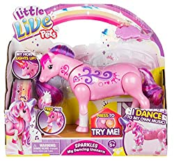 Watch her dance to her own music! Pat her and she nuzzles you. Light up horn! Brush her hair & feed her a magical Unicorn cupcake. She makes cute Unicorn sounds!