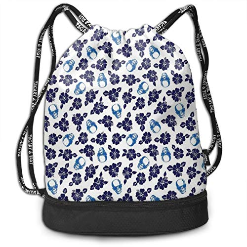 DPASIi Drawstring Backpacks Daypack Bags,Tropical Hibiscus Flowers with Cool Skull Sunglasses Foliage Silhouette,Adjustable String Closure