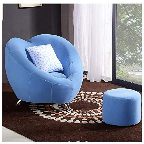KUYH Lazy Sofa, silla de franela individual, creativa Love, silla de ocio y cómodo sofá en dormitorio y sala de estar, con reposapiés de 80 x 95 cm