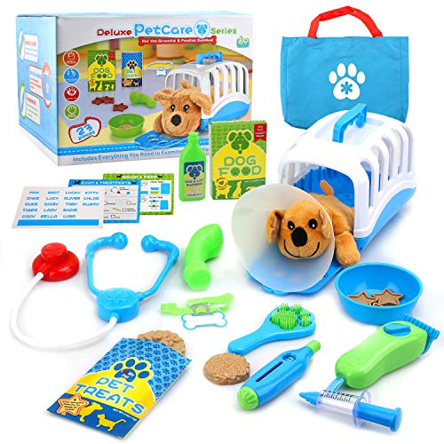 YIMORE Vet Set for Kids with Toy Dog Carrier Pretend Veterinarian Kit Pet Care Doctor Playset for Toddlers