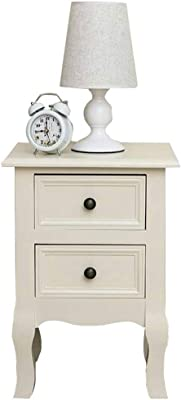 DYHOZZ Bedroom Bedside Table Unit Cabinet Nightstand Furniture Wood White Bedside Table 2-Drawers Cabinet (White) (Color : Ivory White, Size : 34.5 × 30 × 50cm)