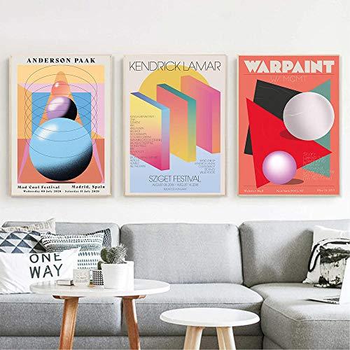 HJKLP Affiche de créativité scandinave Arts Mural Abstrait Impressions colorées Toile Tableaux Chambre Mur Photo pour Salon Deco Murale 40x60cmx3 sans Cadre