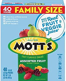 Fruit Snacks, Assorted Fruit Gluten Free Snacks, Family Size, 40 Pouches, 0.8 oz Each (New Version)