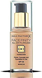 Max Factor Face- Finity All Day Flawless 3 In 1 SPF 20 Foundation Makeup for Women, No. 80 Bronze, 1 Ounce