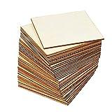 Kamenda 36 Stück unlackierte quadratische Fliesenausschnitte 10,2 cm quadratisch blanko Holz für DIY Handwerk Heimdekoration Malerei Beize