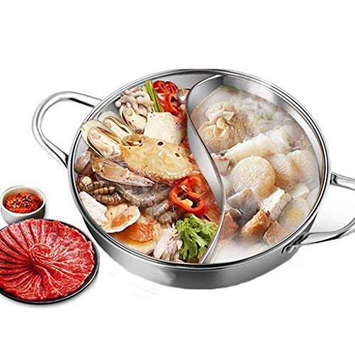 Acier Inoxydable The Shabu Shabu Hot Pot avec Couvercle,Yuanyang Hot Pot avec séparateur,Léger Chinois en Aluminium Hot Pot Table de Cuisson à Induction Cuisinière à gaz Safe Party Use Silve