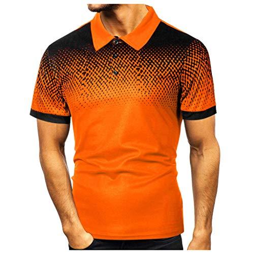 Yowablo Herren Poloshirt Polohemd Shirt Basic Polo Mode Persönlichkeit Casual Slim Kurzarm Bedruckte T-Shirt Top Bluse (L,2Gelb)