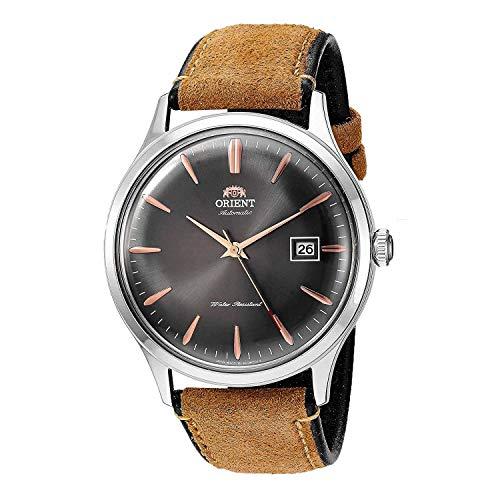 Reloj Bambino Version 4 de Orient, para hombre, reloj japonés automático, de acero inoxidable, correa de piel, color marrón(Modelo: FAC08003A0)