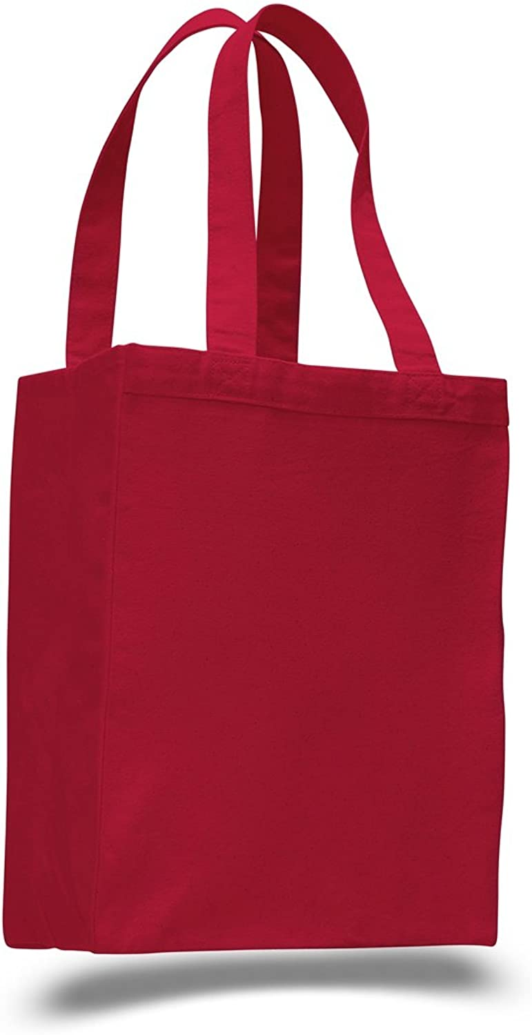 (12 Pack) Set of 12- Extra Heavy Duty Canvas Tote Bag with Gusset (Red)