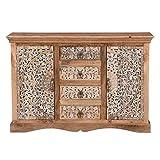 Orientalische Kommode Harnur aus Massivholz 142x41x96 (BxTxH) mit schöner handgeschnitzten Front Kunsthandwerk Pur MA29-240