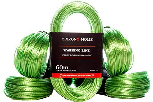 ZIXXONE-HOME Made in EU 60 m Cuerda de Recambio para tendedero, Línea de lavado, de Acero, Resistente, extra largo y Grueso, recubierto de plástico, Jardín, tendedero Giratorio al Aire Libre, Verde