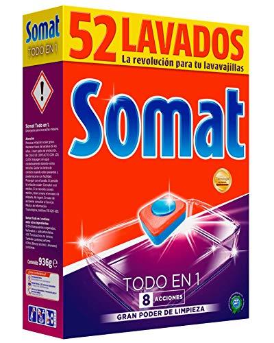 Somat Todo En 1 Detergente Pastillas para Lavavajillas Máquina - 52 Lavados