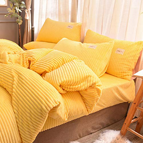 Shinon microfiber duvet cover set double,Fleece Duvet Quilt Cover Bedding Set With Matching Pillowcase Teddy Warm and Cosy Single-G_2.0m bed (4 pieces)