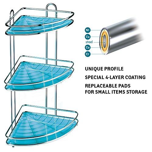 Tatkraft Kaiser | Eckduschregal mit 3 Ebenen für das Badezimmer | Verchromter rostfreier Stahl | Antibakterielle Beschichtung | Masse 25 x 23 x 58cm | für den organisierten Haushalt