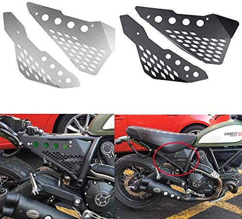 QYA Motorrad-Zubehör Alu-Seiten Mid Rahmen Abdeckplatte Schutz-Schutz-Verkleidung for Ducati Scrambler Sixty/Wüsten-Schlitten/Full Throttle/Urban Enduro (Color : Black)