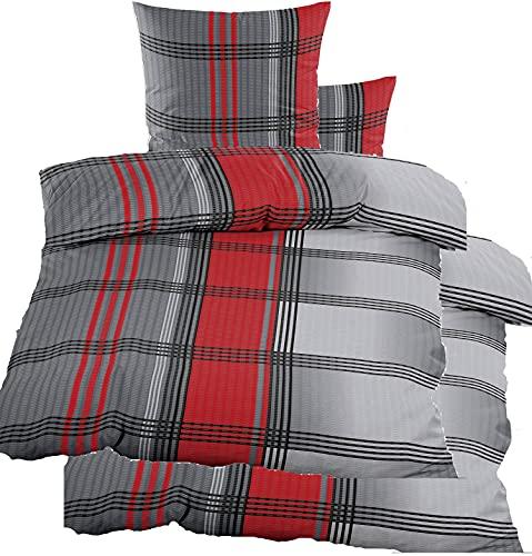 4-TLG. Seersucker Bettwäsche 2X 135x200 +80x80cm, rot grau schwarz kariert, bügelfrei, Microfaser (60348)