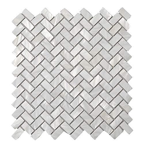 Diflart Oyster Mother of Pearl Shell Mosaic Tile Backsplash for Kitchen Bathroom Wall Tiles, 10 Sheets/Box (Herringbone, Pearl Shell)