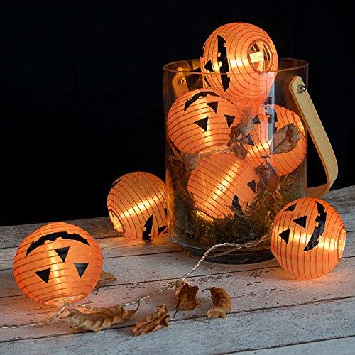 Plaights Kürbis Lampion Lichterkette mit 20 LED's Sommerlichterkette für drinnen und draußen mit Timer Funktion