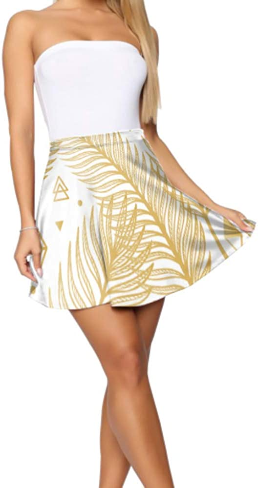 Liaosax Flare Skirt for Women Beautiful Gold Pseudo Glitter Effect Feathers Skater Skirt High Waisted Women's Basic Casual Skater Skirts for Women Mini S-XL