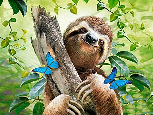 neivy Forest Animal Sloth 5D Diamond Painting Kits Full Drill Embroidery Rhinestone Painting Pictures Cross Stitch Crafts for Home, Hotel Wall Decor (Full Square 50x60cm)