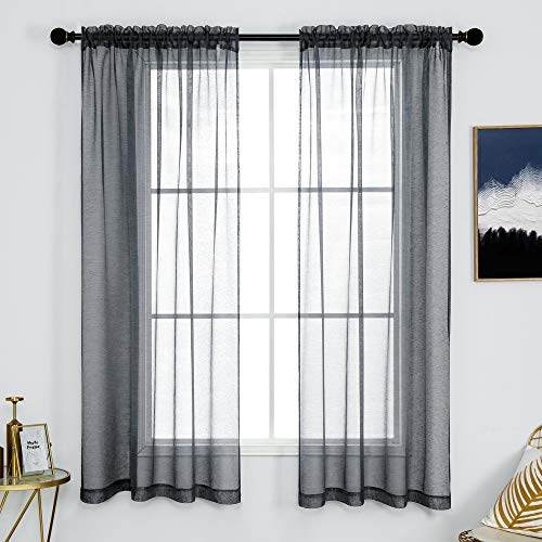 DUALIFE Dark Grey Sheer Curtains 54 Inches Long for Bedroom Living Room Charcoal Gray CurtainsSet of 2 Panels Solid Textured Sheer Voile CurtainsWindow Drapes Rod Pocket 52x54 Inch Length