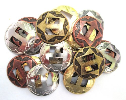 """Conchos Mixed Finishes Western 1"""" Round Slotted; 25 Pieces"""