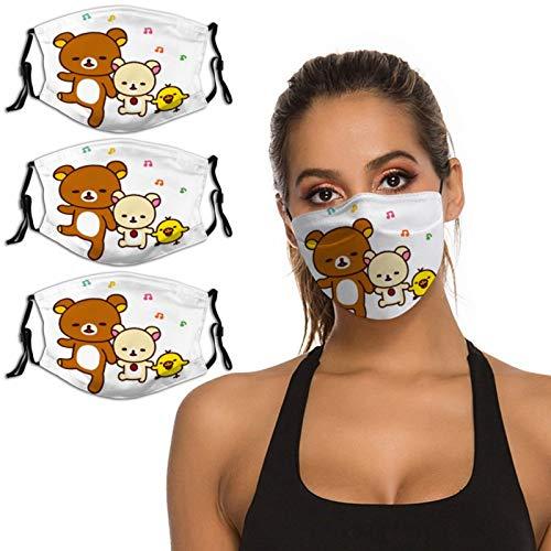 Nuberyl Brown Bear Rila-kuma - Pasamontañas unisex con diseño de pollo amarillo (2), transpirable, reutilizable, protección UV, paquete de 3 polainas para el cuello