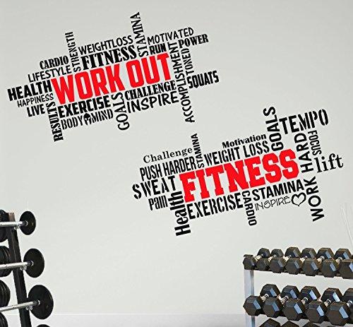 Adesivo Da Parete Da Palestra 2 Grandi Pro Allenarsi Fitness Formazione Motivazionale Citazione Gym Wall Sticker Decalcomania Ispiratrice Esercizio Di Salute Decorazione Nero/rosso 100x57cm Di Nia Art