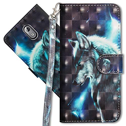 MRSTER Nokia 3.1 Handytasche, Leder Schutzhülle Brieftasche Hülle Flip Hülle 3D Muster Cover mit Kartenfach Magnet Tasche Handyhüllen für Nokia 3.1 2018. YX 3D - Wolf