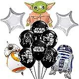 Star Wars Décorations Anniversaire Nesloonp 18 PCS Ballons de fête Star Wars pour la fête d'anniversaire des Enfants comprenant 12ballons++ pompe